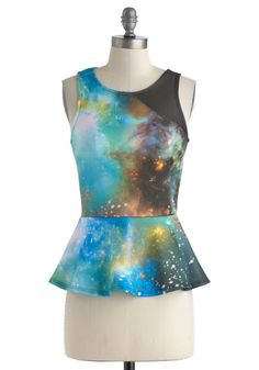 Astronaut So Fast Top - Mid-length, Multi, Blue, Black, Novelty Print, Print, Party, Girls Night Out, Peplum, Sleeveless, Sheer, Statement, Top Rated