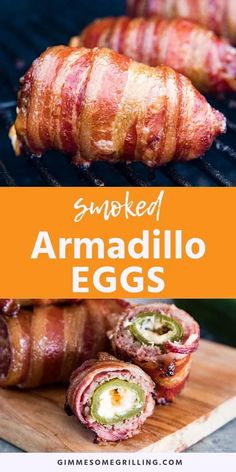 Smoked Armadillo Eggs are a fun twist on jalapeno poppers with a layer of ground sausage and then bacon on the outside. The perfect smoked appetizer. Traeger Recipes, Smoked Meat Recipes, Bacon Recipes, Grilling Recipes, Hamburger Recipes, Oven Recipes, Rice Recipes, Meat Appetizers, Easy Appetizer Recipes