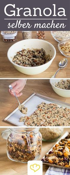 Granola selber machen We'll tell you how to easily and quickly produce your own cereal. Of course you can vary the Granola basic recipe at will! Breakfast Desayunos, Breakfast Recipes, Snack Recipes, Brunch Recipes, Healthy Smoothies, Healthy Snacks, Healthy Recipes, Healthy Dinners, Detox Juice Recipes