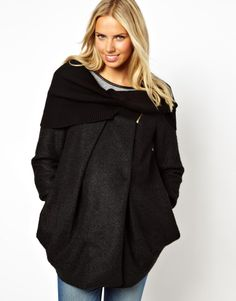 New Look Maternity Cocoon Zip Detail Coat With Rib Collar And Cuffs