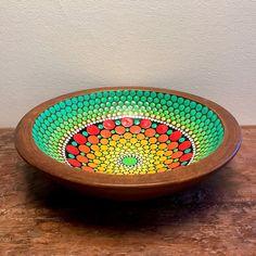 Hand painted mandala / colorful mandala / dot mandala / wood bowl / dots / one of a kind gift /Christmas gift / mandala art Mandala Painting, Dot Painting, Painting Patterns, Mandala Art, Stone Painting, Painted Boxes, Hand Painted, Mandala Rocks, Blue Chandelier