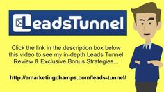 Leads Tunnel Review - https://www.youtube.com/watch?v=0ROIiWu-9qc - Leads Tunnel Bonus You'll also desire to try to find markets that are great, as well as deciding great merchandises within markets. Here's a dumb suggestion that can exemplify my point however: do not sell garden hoses. No one will purchase. Focus on products if their popularity merely soared, now; and that lots of individuals need is the optimum time to get in the industry.