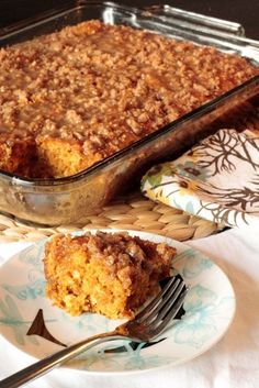 Pumpkin Coffee Cake | This is a little bit of a cheat coffee cake. It has all the bells and whistles of a coffee cake, but it's made with a boxed cake mix and has more of an gooey butter cake feel.