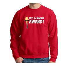 Its a Major Award! Leg Lamp PREMIUM Crewneck Sweatshirt Funny Christmas Movie Red Gift BB Gun Ryder A Story Joke Vacation Present Santa Griswold Home Xmas Tree Leg Lamp Alone PREMIUM Sweatshirt XL Red
