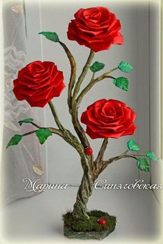 Decorative floristry as a hobby (topiary, etc) — Shared album (topiary, decorative compositions. Nylon Flowers, Clay Flowers, Beaded Flowers, Giant Paper Flowers, Paper Roses, Fleurs Diy, Diy And Crafts, Paper Crafts, Flower Tutorial