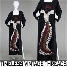 vtg-80s-AVANT-GARDE-Novelty-HUGE-ETHNIC-Tribal-FEMALE-GODDESS-Maxi-DRESS-M-XL