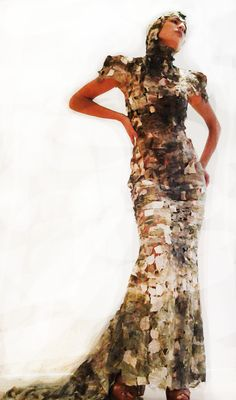https://www.cityblis.com/10898/item/15293   Flora - $4800 by gabbeh   This One of a kind Hand printed Hand made evening gown is made of 2-inch uneven bits of fabric stitched together.   #Dresses