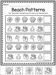 Simple patterns worksheet with a fun summer theme. Simply cut and paste the right picture to finish off the pattern. 2 worksheets included, along with both colour and black & white. Pattern Worksheets For Kindergarten, Patterning Kindergarten, Summer Worksheets, Kindergarten Colors, Cut And Paste Worksheets, Printable Preschool Worksheets, Seasons Worksheets, Kids Worksheets, Free Printable