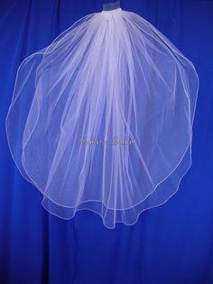two layers white wedding veil
