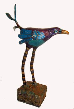 Fanciful Bird of Paradise Paper Mache by GinsLilCharacters
