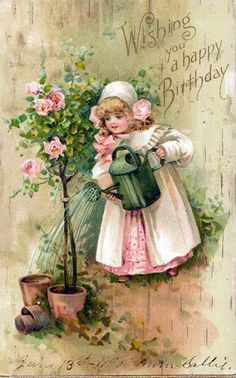 """The reverse reads : """"To my little sweetheart on her one year birthday. Happy Birthday Vintage, Happy Birthday Greetings, Birthday Wishes, Vintage Cards, Vintage Postcards, Vintage Images, Old Greeting Cards, Decoupage Vintage, Vintage Drawing"""