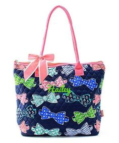 """Personalized Bow Tie Coral 16"""" Quilted Tote Bag - Gifts Happen Here - 1"""