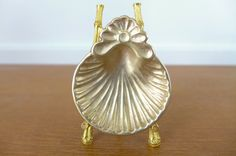 Tiny footed brass shell dish incense cone by Sweetpotatojack