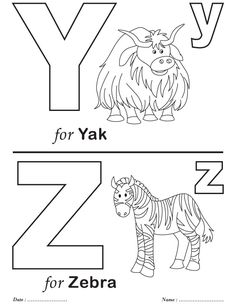 Letter Printable Coloring Pages New Printables Alphabet Y Z Coloring Sheets Airplane Coloring Pages, Train Coloring Pages, School Coloring Pages, Coloring Sheets For Kids, Alphabet Coloring Pages, Coloring Books, Printable Coloring, Coloring Worksheets For Kindergarten, Kindergarten Colors