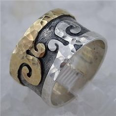 Hand Crafted Art Fab Gold Silver Ring ($249.00)