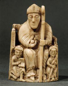 Chess piece Scandinavian Bishop,walrus ivory,Trondheim,Norway 1150-1200 Musee du Louvre