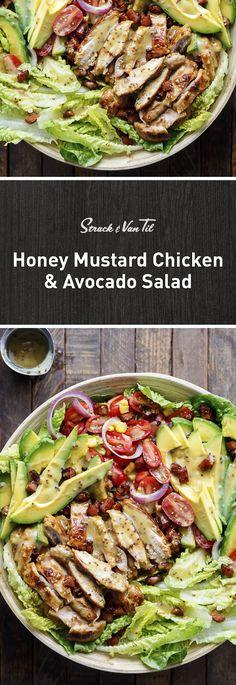 A crisp salad loaded with crispy bacon, avocado and sweet honey mustard.