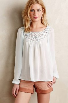 at anthropologie Lace Scroll Peasant Top