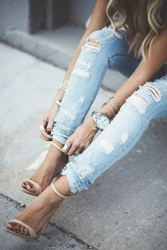 Ripped jeans + single strap heels.