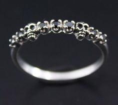 Alternative wedding ring - Baby Skull Double skull ring - 925 Sterling Silver with Black CZ (Cubic Zirconia) stone -  Silver ring