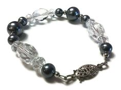 Gray Brain Cancer Awareness Bracelet with a Silver Tone Clasp and Spacer Beads, Glass Pearls and Clear Faceted Oblong & Rondelle Crystals - pinned by pin4etsy.com