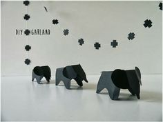"""DIY: Eames Elephants Garland! - linked to pattern, there are no details, sorry. """"Just made one and it is cute,  Use Card Stock if you want it to stand.  And I glued the head tap under the body tap for a neater look."""