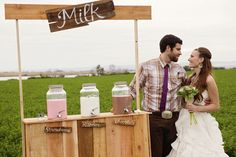 Strawberry, plain and chocolate flavored milk for a wedding reception.  I hope a decadent cookie buffet is nearby!