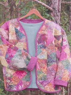Love these colors for this crazy quilt sweatshirt jacket.