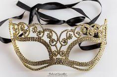Francine Flower Gold Masquerade Crystal Mask. CZ, Faux Diamond, Engagement, Bridal, Wedding, Event, Fashion Jewelry.