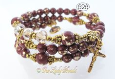 Rosary Bracelet Wrap,Burgundy-Gold Glass,First Communion,Confirmation Gift,Mother's Day,Godmother Gift,Catholic Bracelet,Religious Gift,#626 by OURLADYBeads on Etsy