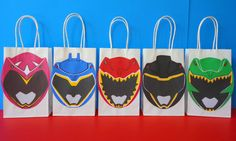 Printable Power Rangers Favor/ Goodie Bag. Visit my Etsy Shop to purchase these bag design templates for just $6.20. They are very easy to assemble. Printing is unlimited!! Power Rangers Birthday Party favors/ decoration/ ideas/ favor/ treat/ candy/ goody/ loot bags/ stickers/ labels/ power rangers cake/ cupcake toppers/ power rangers dino charge invite/ invitation/ backdrop/ photo props/ masks/ party supplies/ fiesta/ festa/ power rangers costume/ centerpieces/ bolo/ pastel/ painel/ free