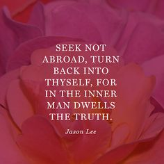 """Seek not abroad, turn back into thyself, for in the inner man dwells the truth."" — Jason Lee"