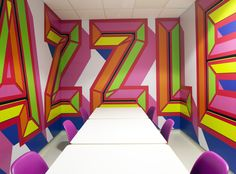 Barts and The Royal London Children's Hospital English designer Morag Myerscough creates environmental graphics combining a great sense of color with a great sense of typography. Her most recent work. Environmental Graphic Design, Environmental Graphics, Signage Design, Branding Design, Typography Love, Lettering, Publication Design, Communication Design, Advertising Design