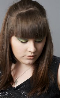 My sister Becky and her gorgeous green cat eye, created with Beauty from the Earth cosmetics<3