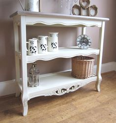 Console Table In Cream, 3 Shelf Display   Cream Console Table, Display  Shelves, Vintage Chic   See Everything