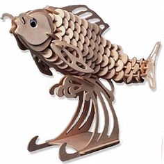 3-D Wooden Puzzle - Carp -Affordable Gift for your Little One! Item #DCHI-WPZ-H009