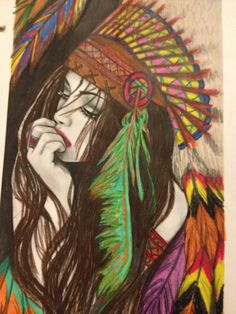 Color by Kim Beasley Native American Pictures, Native American Symbols, Native American Indians, Pictures To Paint, Art Pictures, Indian Headdress Tattoo, Tattoos 3d, Art Drawings Sketches Simple, Africa Art