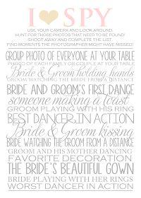 As a photographer, I LOVE this! Camera I-Spy for the reception! <3