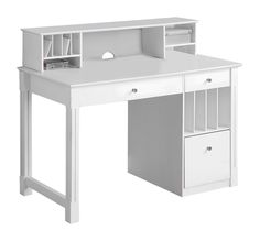 Home Office Deluxe White Wood Storage Computer Desk with Hutch - Saracina Home : Target Home Office Computer Desk, Computer Desk With Hutch, Desk Hutch, Desk With Drawers, Home Office Furniture, Computer Desks, Computer Armoire, Vanity Desk, Bedroom Furniture