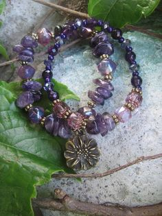 Bohemian Gypsy Amethyst Bracelet Stacker Set by thirdtimecharms, $24.00
