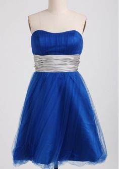 New Arrival Ruching Organza Knee-length Royal blue Bridesmaid Dresses 001749029