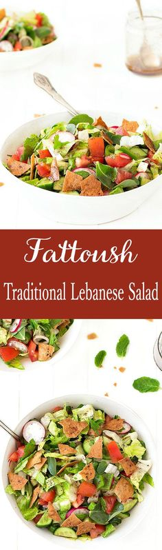 Fattoush is a traditional Lebanese salad, colorful, refreshing, crunchy and full of flavor. t's simply made with coarsely chopped vegetables and herbs, toasted or fried Arabic bread and a sweet-tangy dressing. Serve the fattoush salad on its own or as a side dish with grilled meat, fish or chicken.