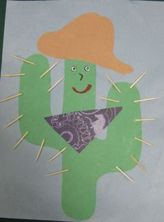 Preschool Cactus Craft Cute little cactus! Cowboy Crafts, Texas Crafts, Rodeo Crafts, Paper Cactus, Cactus Craft, Cowboy Theme, Western Theme, Cowboy Party, Preschool Themes