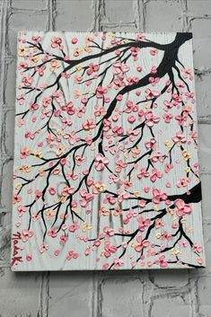 painting acrylic cherry blossoms Pink Cherry Blossom Tree painting on wood, unique art , Impasto Thick Paint texture, palette knife Tree Painting Easy, Easy Flower Painting, Acrylic Painting Flowers, Spring Painting, Abstract Painting Ideas On Canvas, Acrylic Painting Images, Beginner Painting On Canvas, Wood Painting Art, Easy Canvas Art