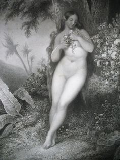 Antique 19th C LISTED French Print Engraving EVE Plucking Roses Signed MAGNIFICENT NUDE!