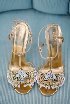 striking Gucci gold shoes for the wedding; photo: Sean Money + Elizabeth Fay