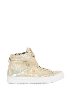 ROBERTO CAVALLI - CRACKLED LEATHER HIGH TOP SNEAKERS - LUISAVIAROMA - LUXURY SHOPPING WORLDWIDE SHIPPING - FLORENCE