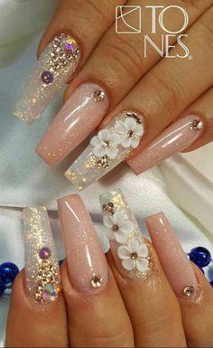 2020 Hot Fashion Coffin Nail Trend Ideas - Page 2 of 31 - Amanda Castillo Glam Nails, Bling Nails, Beauty Nails, My Nails, Gorgeous Nails, Pretty Nails, Cute Nails, Nail Polish Designs, Cute Nail Designs