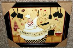 Choice of One Italian Fat Chef Bistro Wall Art Framed Picture | eBay