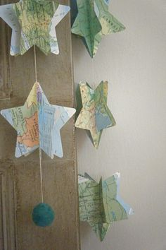 Vintage Atlas 3D Paper Mobile Star Strings on Etsy